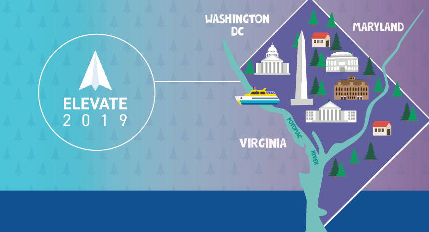 atpco elevate logo on a background with a map of washington dc