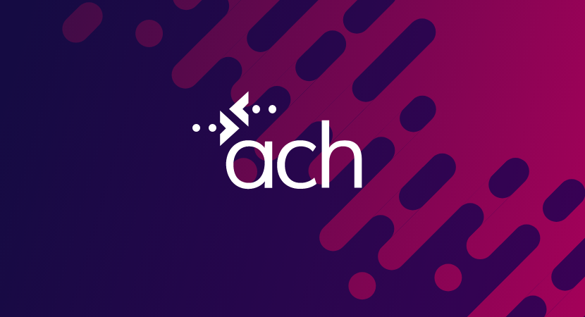 ach logo on pink and purple background