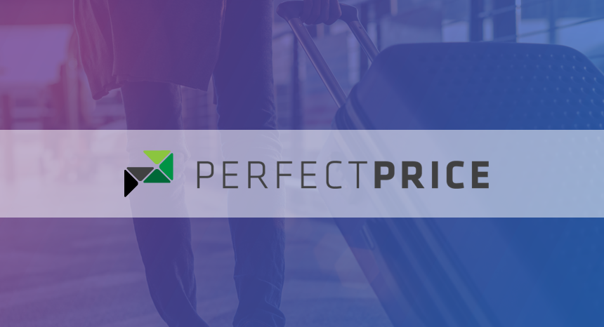 perfect price logo on purple background