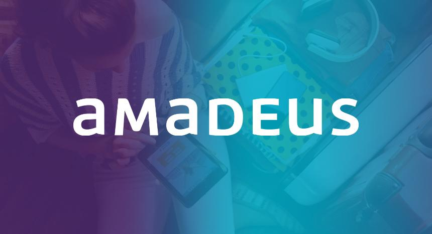 amadeus logo on blue and purple gradient background